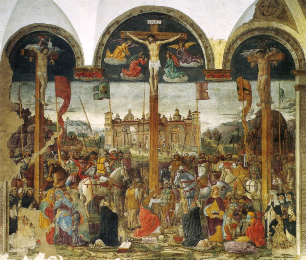 Tegenover het schilderij van Het Laatste Avondmaal vind je het schilderij van de kruisiging, door Giovanni Donato da Montorfano, een andere schilder.