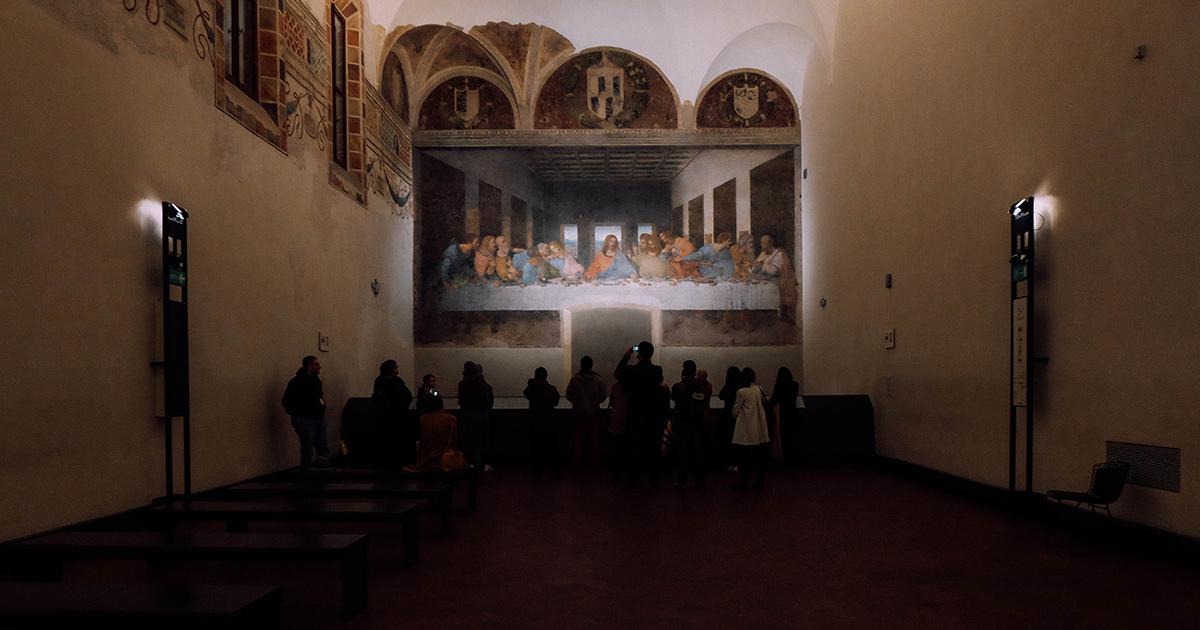 Het laatste avondmaal van Leonardo Da Vinci, een fresco geschilderd op de muur in Santa Maria delle Grazie, Milaan.