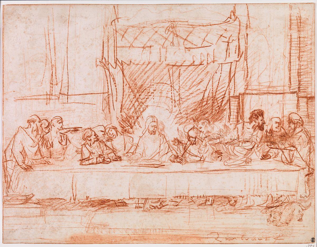 Schets van Rembrandt van Het Laatste Avondmaal