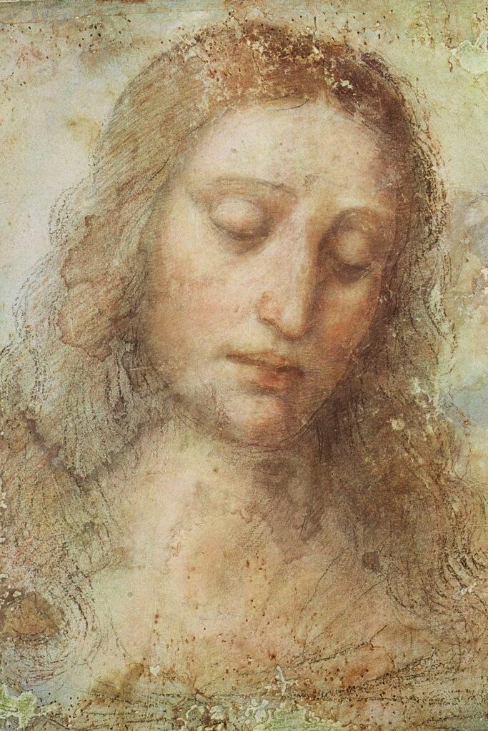Studie van het hoofd van Christus voor Het Laatste Avondmaal