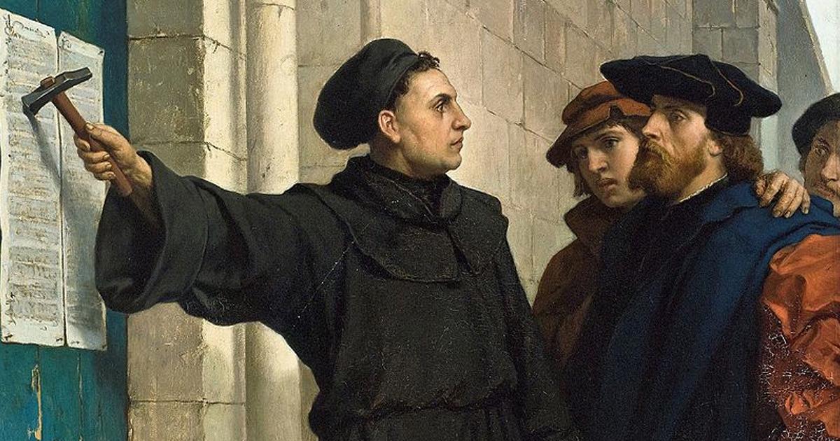 95 stellingen door Maarten Luther op de deur van de kerk gespijkerd