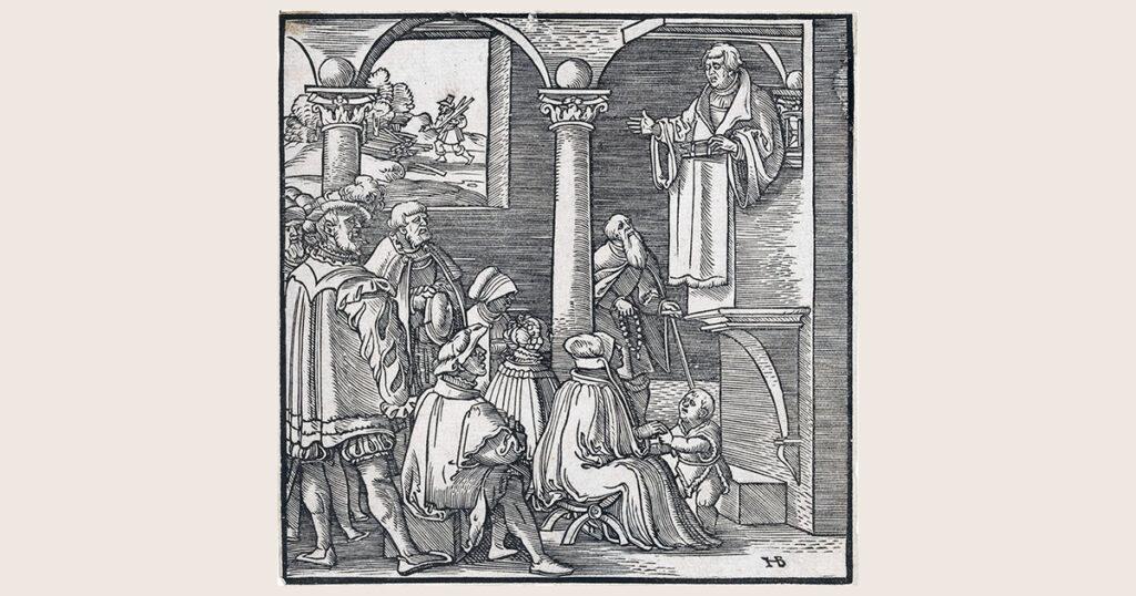 Martin Luther predikend in een kerk, Hans Brosamer, 1550