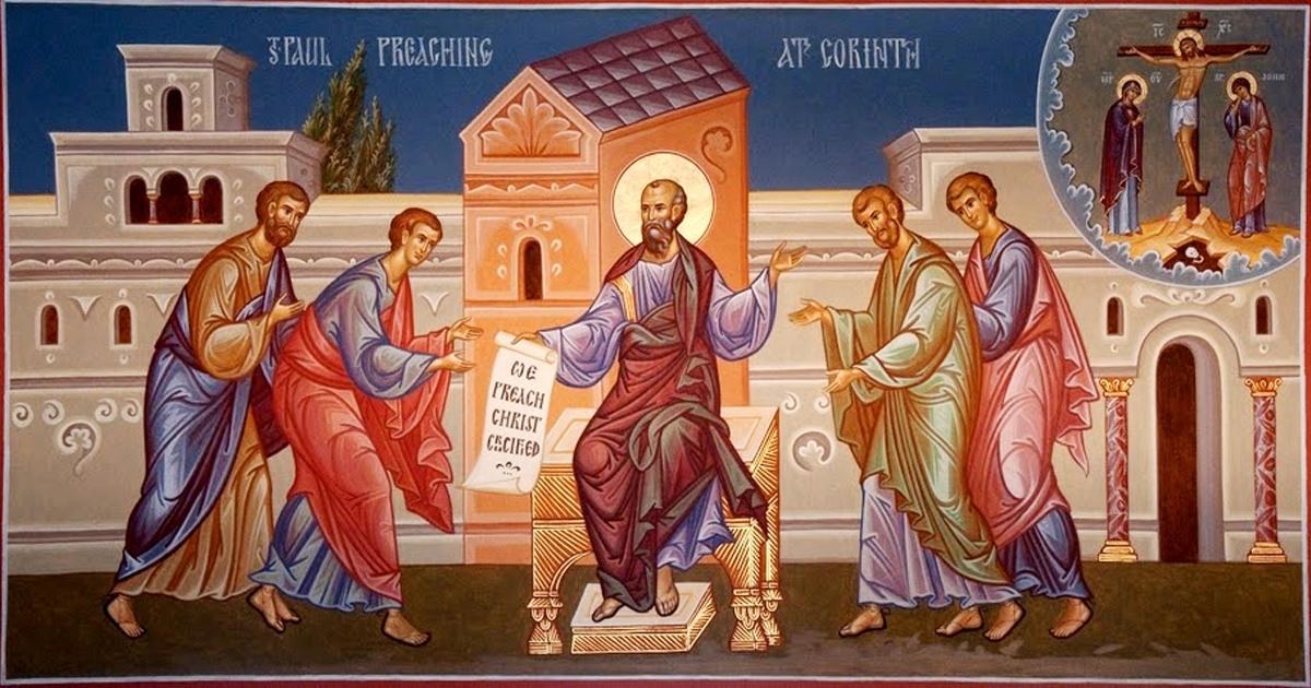 Paulus preekt in Korinthe
